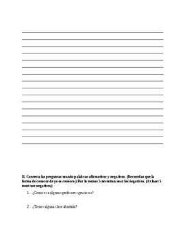 Realidades 2 Ch 1A grammer quiz- Stem changers, aff./neg. words
