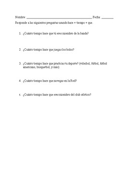 Realidades 2 Ch 1B, Hace + time+ que expressions worksheet