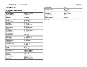 Realidades 2 Ch 1B Vocabulary List / Vocabulario Capitulo 1B