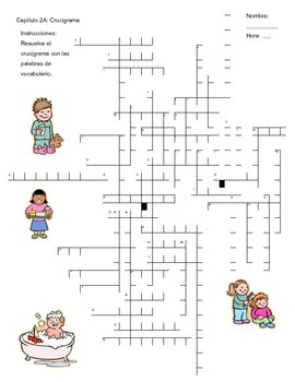 Daily Routine Crossword Puzzle (Realidades 2 Ch. 2A)