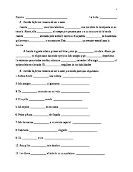Realidades 2- Ch 2A Grammar Quiz, possessive adj. and SER/ESTAR
