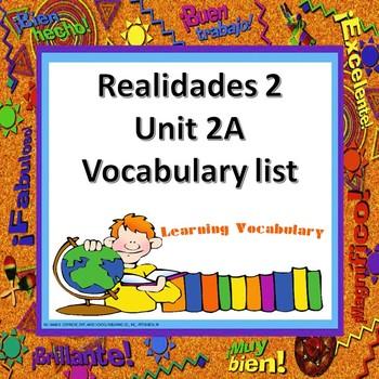 Realidades 2 Ch 2A Vocabulary List / Vocabulario
