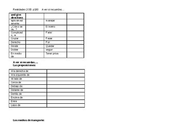 Realidades 2 Ch 3B Vocabulary List / Vocabulario / Capitulo 3B