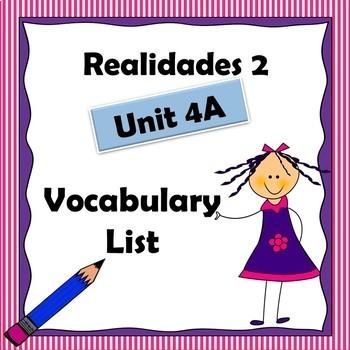 Realidades 2 Ch 4A Vocabulary List / Vocabulario