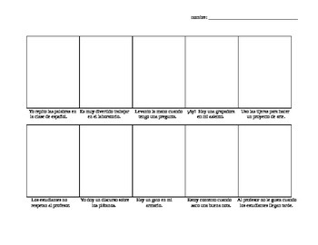 Realidades 2 Chapter 1A Comic Strip drawing activity w/ school vocab