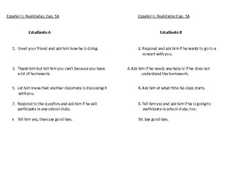 Realidades 2, Chapter 1A Guided Oral Skit
