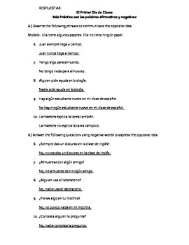 Realidades 2, Chapter 1A More Affirmative and Negative Practice