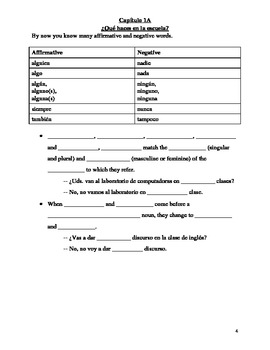 Realidades 2 Chapter 1A Vocabulary and Grammar Study Guide