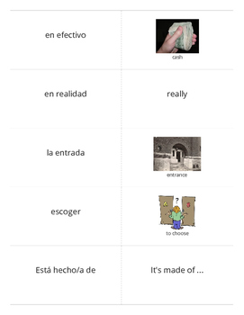 Realidades 2 Chapter 2B Vocabulary Flashcards -Large