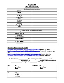 Realidades 2 Chapter 2B Vocabulary and Grammar Study Guide