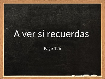 Realidades 2 Chapter 3A A Ver Si Recuerdas PowerPoint