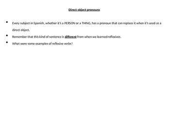 Realidades 2 Chapter 3A Grammar PowerPoint, D.O. pronouns, irregular preterite