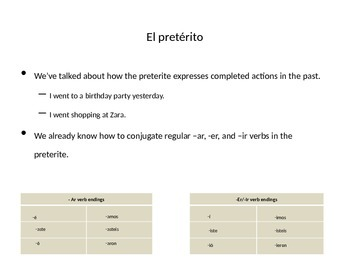 Realidades 2 Chapter 3A Irregular Preterite Presentation