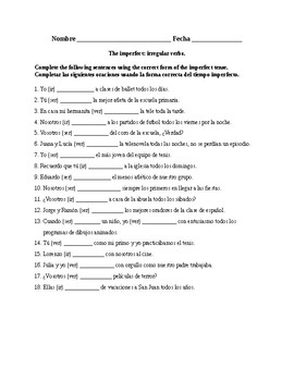 Realidades 2, Chapter 4A  The imperfect with irregular verbs  Quiz /  Activity