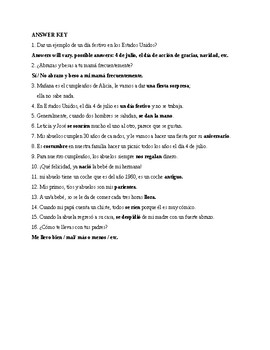 Realidades 2, Chapter 4B. Vocabulary, Exercise 1. Quiz / Activity