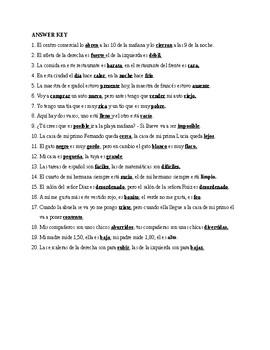 Realidades 2, Chapter 5A. Antonyms. Quiz / Activity