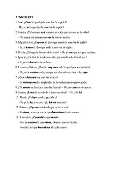 Realidades 2, Chapter 5A. The preterite of oír, leer, creer and destruir.