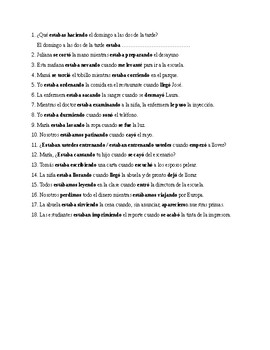 Realidades 2, Chapter 5B. Imperfect progressive and preterite. Quiz / Activity