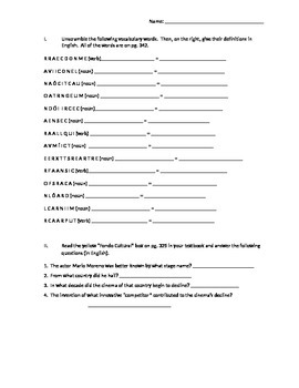 Realidades 2 Chapter 6B vocab work packet, huge variety of
