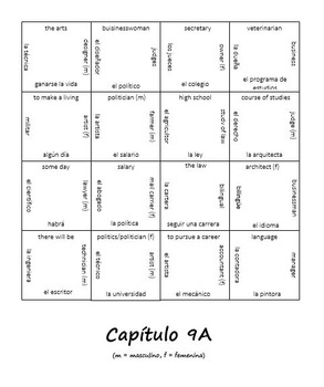 Realidades 2 Chapter 9A Vocab Puzzle