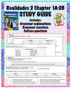 Realidades 2 Chapters 1A-2B Review Sheet