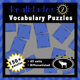 Realidades 2 Spanish Vocabulary Puzzles (Entire Textbook)