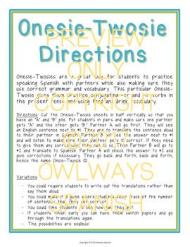 Realidades 2 - Para Empezar - Onesie Twosie - Spanish Adjectives + Present Ser
