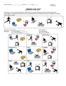 ¿Quién soy yo? Partner Speaking activity & Me Gusta Practice