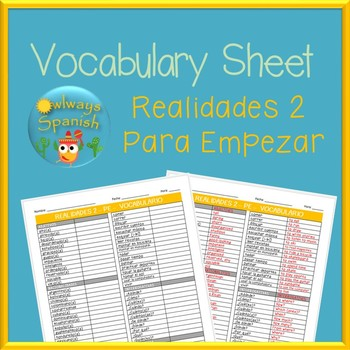 Spanish Study Sheets Teaching Resources | Teachers Pay Teachers