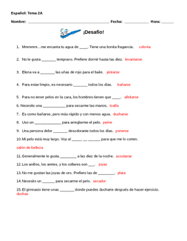 Realidades 2 Tema 2A Vocabulary Warm-up Worksheet