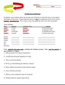 Realidades 2 Tema 4B Reciprocal Verbs Introduction Worksheet