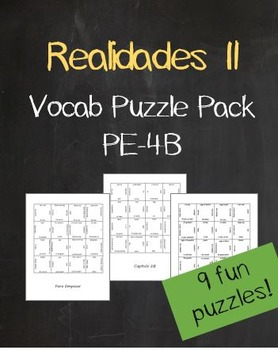 Realidades 2 Vocab Puzzle Pack (Chapters PE- 4B)