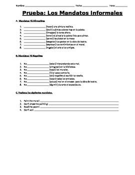 Realidades 2 Vocab and Mandatos Quiz