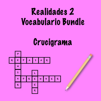 realidades 2 vocabulary crossword bundle by srta 39 s spanish. Black Bedroom Furniture Sets. Home Design Ideas