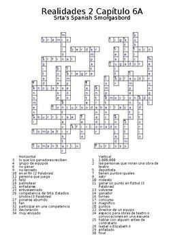 Realidades 2 Vocabulary Crossword Capítulo 6