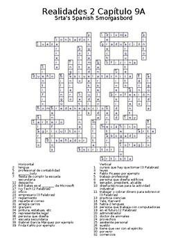 Realidades 2 Vocabulary Crossword Capítulo 9