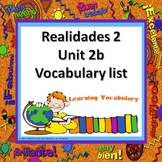 Realidades 2 Vocabulary List Ch 2B