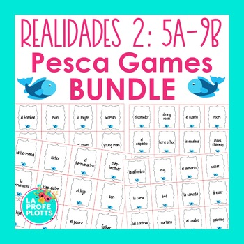 Realidades 2 Vocabulary ¡Pesca! Game BUNDLE #2 (Capítulos 5A-9B)