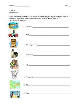 Realidades 2 Worksheet Chapter 1B A ver