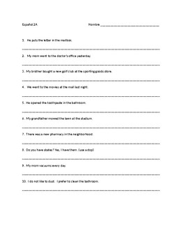 Realidades 2 capitulo 3A Vocab & Grammar Translations