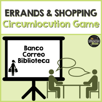 Realidades Spanish 2 vocab 3A-B circumlocution game Bundle el centro / comunidad