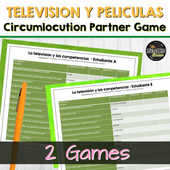 Realidades Spanish 2 6A 6B Bundle vocab circumlocution game- TV, movies vocab