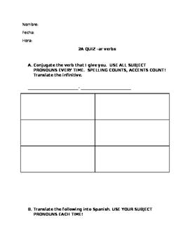 Realidades 2A Quiz Verb conjugation and sentence translation