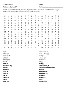 Realidades 2A vocabulary wordsearch