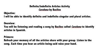 Realidades 2B Definite & Indefinite Articles Song Activity