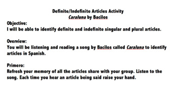 Realidades 2B Definite & Indefinite Articles Song Activity