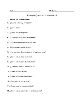 Realidades 2B Essential Questions