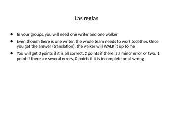Spanish I. Realidades 2B vocab and grammar review game