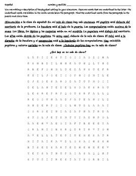 Realidades 2b Reading - Wordsearch - Translation - Spanish 1 La Sala de Clases