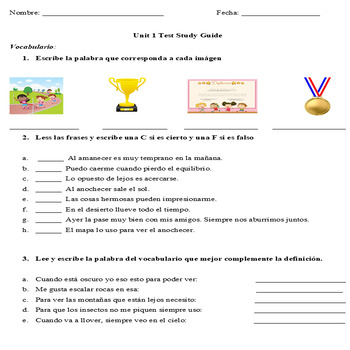 Realidades 3 Ch 1 Vocabulary and Grammar Practice / Test study Guide / Preterite